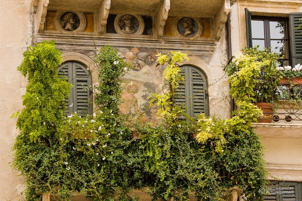 Grüne Häuserfront in Verona