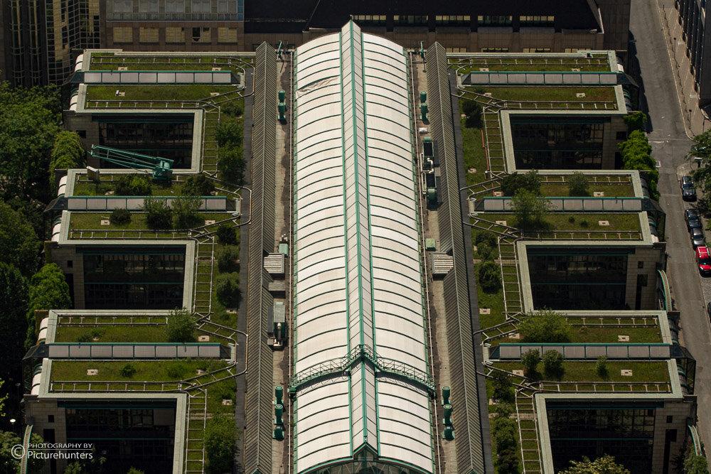 Blick auf Dachgärten