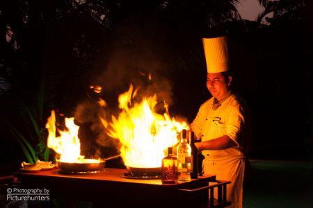 Feuershow beim Abendessen